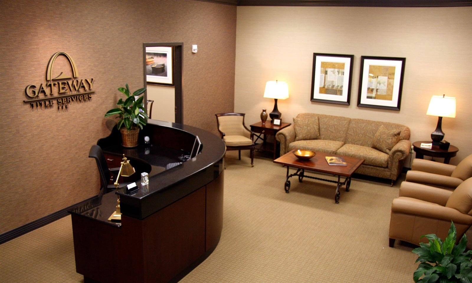 gateway title office reception desk logo chairs